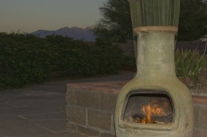 This is the perfect desert setting for a chiminea fire.
