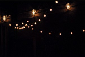 Here you can see a combination of deck lights and string lights.
