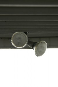 This is an example of how outdoor flood lights can be mounted.