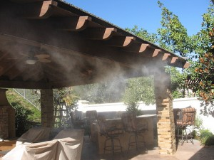 This misting system has the potential to cool this patio area by up to 30 degrees.