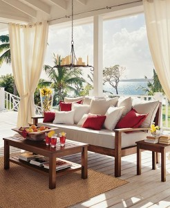 An elegant and breezy look from an outdoor patio curtain.