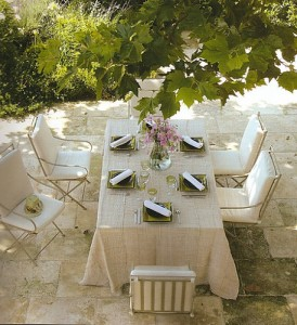 A nice looking outdoor dining furniture set.