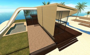 This rendition shows patio blinds that will block the sun and provide great privacy.