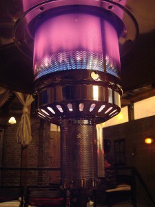 A close-up shot of the patio heater.