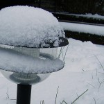 These types of solar lights don't work when covered in snow or debris.