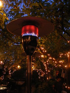 This is a floor-mounted patio heater.