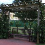 A perfect spot to sit and swing beneath a patio arbor.