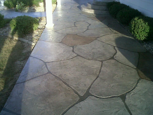 Stained concrete patio patterns home decorating ideas for Concrete patio paint colors ideas