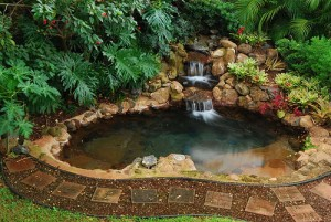 backyard waterall hot tub