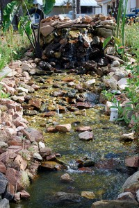 backyard waterfall with stream