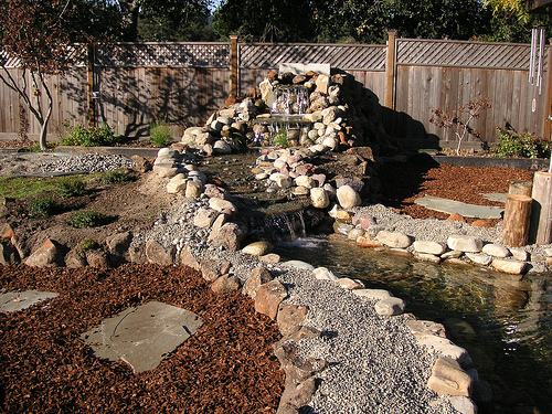 Backyard waterfalls backyard waterfall design patio for Yard waterfalls